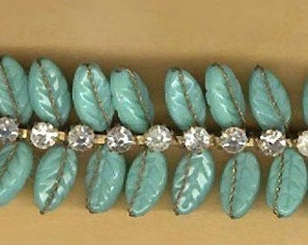 vintage TRIM 1940s germany-us zone TURQUOISE color GLASS and rhinestone wired trim, rare and bendable one foot antique trim