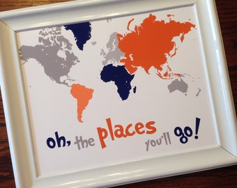 """Orange, navy, gray """"oh, the places you'll go!"""" world map, art printable, instant download, nursery, playroom, kids' bedroom, wall decor"""