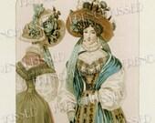 Elegance Fashion Series 1829 Antique French Postcard Digital Printable