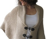 20% WINTER SALE Plus Size Hand Knitted Ecru Poncho with Leather Rope by Afra