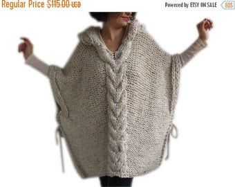 50% CLEARENCE Tweed Beige Hand Knitted Poncho with Hood