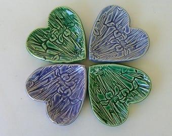 "wedding favors Ceramic Heart Shaped plates, Set of Four, Hand Built  3 1/4"", bridal shower favor, bridesmaid gift"