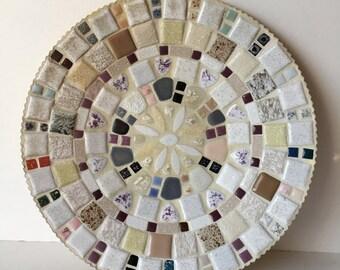 Mid Centry Mosaic Platter Wall Hanging Neutral Colors Handmade 1960's Folk Art