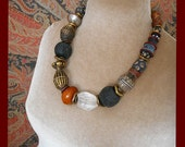 Art to Wear Assemblage necklace, global & artisan beads, tribal neutral colors