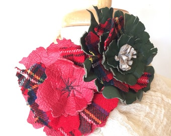 2 Leather Christmas Flower Brooches RESERVED for Dianne by Stacy Leigh