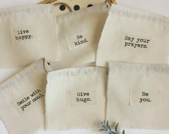 Fabric Scrap Prayer Flags, Inspiration Word Flags, Appliqued Flags, Boho Gypsy Flags, Fabric Banner, Live Happy Party Photo Prop Flags - #1