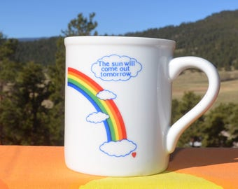 80s vintage mug RAINBOW sun will come out tomorrow annie coffee cup 70s