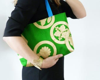 Tote bag, bright green and metallic gold woven decorative vintage Japanese obi fabric