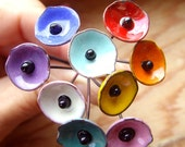Custom order 10 Enameled 'poppy' Headpins by fireballbeeds  (.5 inch, 1.25 cm poppy)