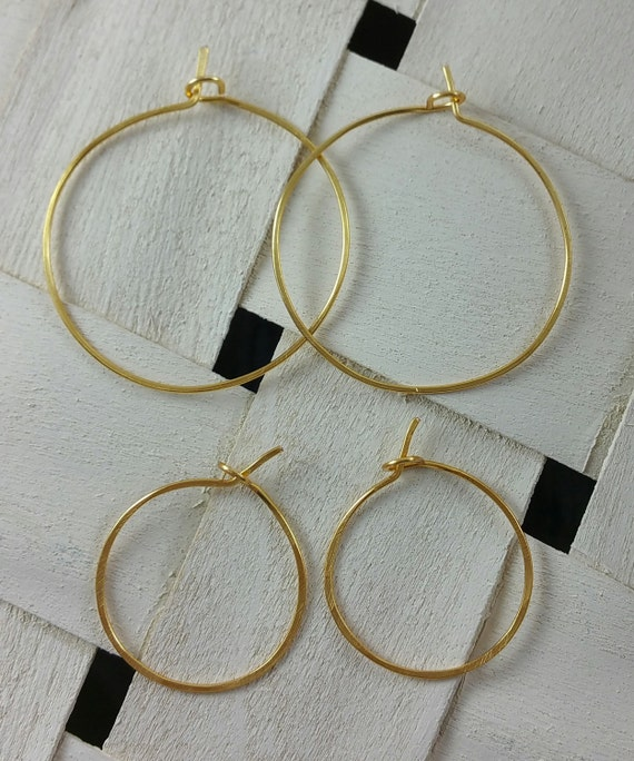 Gold hoop earrings 1 inch or 1.5 inch threader hammered 841