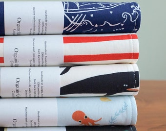 Ocean Baby Burp Cloths; Organic Cotton Burping Cloth; Pirate, Sea Monsters, Octopus, Whales, Sailboats, Stripe Burp Pads; Baby Gift Under 20