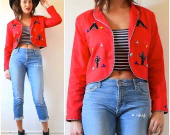 SPRING SALE/ 20% off Vintage 80s 90s Red Southwestern Cropped Beaded Blazer with Teepee and Cactus Appliques (size small, medium)