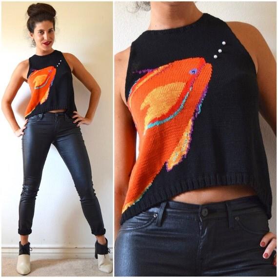 Vintage 80s 90s Cotton Knit Novelty Goldfish Sleeveless Sweater Blouse (size small, medium)