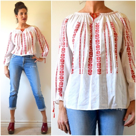 Vintage 60s Mexican Embroidered Long Sleeved Peasant Blouse
