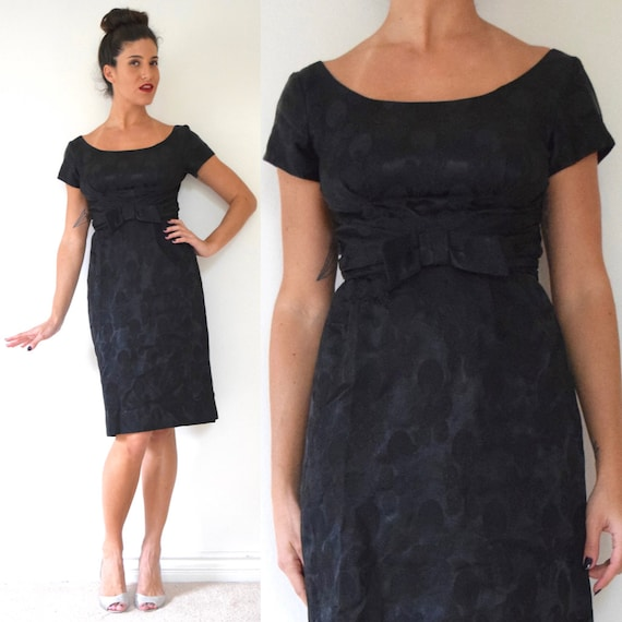 Vintage 60s Black Brocade Wiggle Dress (size small)