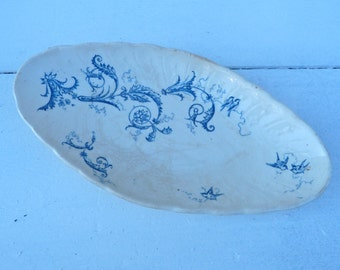 Vintage French  1900 Gien transferware dark blue on off white Floral pattern coutryside shabby chic  pickle dish /ravier