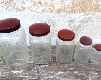 Vintage Antique 1930s old French bakelite lid glass pot/ canisters / series of pots / coming from an old grocery