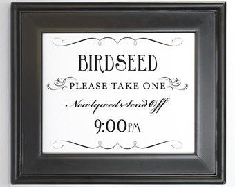 Birdseed Send Off Printable Sign Newlywed DIY Digital File PDF Do it Yourself 8x10 and 5x7 Fancy Wedding Decor Reception Sign