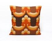 70s Fabric Pillow Cover | Brown Cushion Cover | Retro Throw Pillow | Mid Century Modern Home Decor | Handmade by EllaOsix