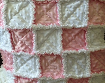 White and pink minkee chenille  Sweet and Soft baby girl security rag quilt