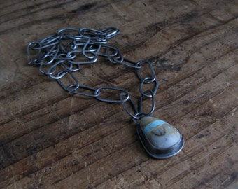 American Boulder Turquoise and Handmade Sterling Silver Chain Necklace Pendant