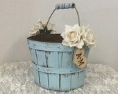 Rustic Flower Girl's Wedding Basket-Wedding Decor with Paper Roses and Wooden Initial Heart
