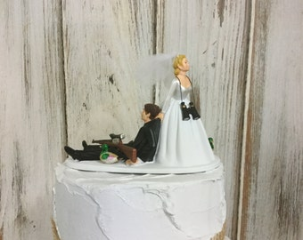 Duck Hunting Cake Topper, Grooms Hunting Cake Topper, Rustic Outdoors Lovers, Bride and Groom Cake Topper