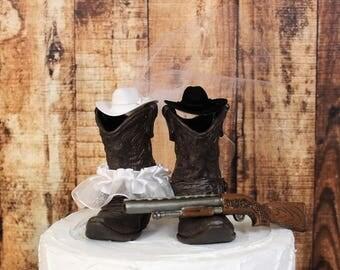 Boots and Gun Cake Topper, Hunting-Shotgun Wedding, Rustic Western Cowboy Boots-Wedding Cake Topper-Barn Wedding, NEW Larger Boots
