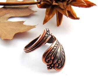 ANTIQUE COPPER RING - Retro Silver Spoon Ring Rope Motif ~ Adjustable Statement Ring