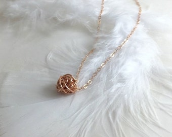 THREE DAY SALE The Tiny Knot Necklace, Handmade Tiny Wire Knot Necklace,Gold Fill or Sterling Silver, Bridal Gift,Bridesmaid Necklace,Tie th