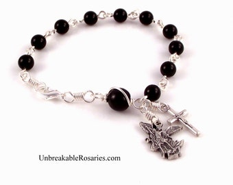 Rosary Bracelet Saint Michael The Archangel In Black Onyx by Unbreakable Rosaries