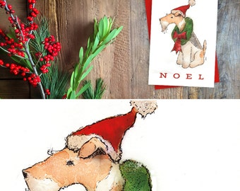 Wire Fox Terrier dog Noel Christmas Holiday Card greeting cards by Stephen Fowler Christmas 12 pack