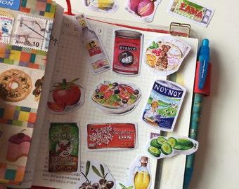 Greek food (set of 14) illustration, watercolor drawing, planner decoration, hobonichi