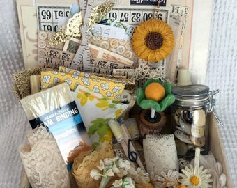 RESERVED for Cat - Vintage Treasure Box with Ivory and Butter Yellow Fabrics, Trims, Buttons, Paper Crafting Goodies, Sunflowers and More