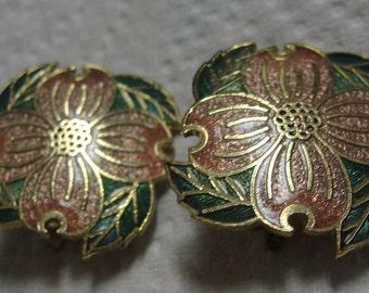 Beautiful Cloisonne Dogwood Clip Earrings