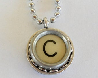 SALE Recycled jewelry Initial Necklace Typewriter Key  Vintage Pendant Monogram Personalize