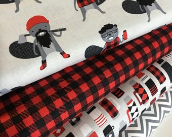 Plaid fabric, Burly Beavers Fabric Bundle of 4, Hipster fabric, Lumberjack, Red Black Plaid, Robert Kaufman- Choose the cuts