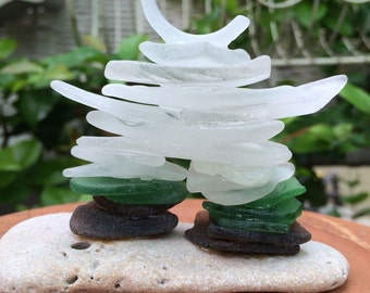 ICE MAN...Inuksuk beach sea glass sculpture, cairn style, art gift guide-green white seaglass