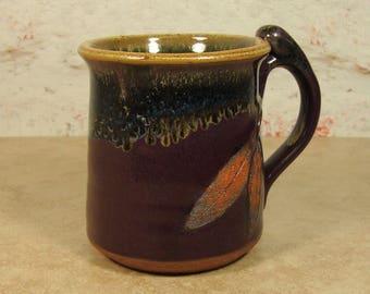 Handmade Tea Cup with Sage Leaf -  Stoneware Treehugger Mug