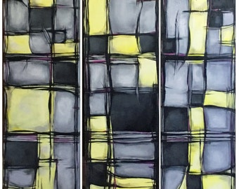 SALE 36x36 Original Painting Acrylic Hopscotch Plaid Abstract yellow gray by RSalcedo FFAW Free Shipping