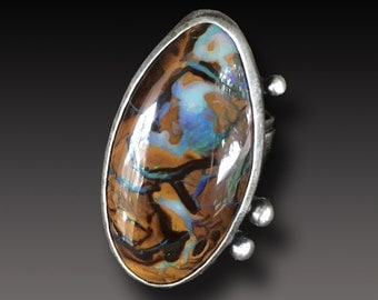 Koroit Opal ring Sterling Silver and Australian Opal Ring