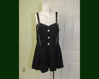 Vintage 50s Surf and Togs Black Bombshell Bathing Suit Large