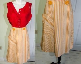 VIntage 1950's Saks Fifth Avenue Yellow Striped Wrap Skirt