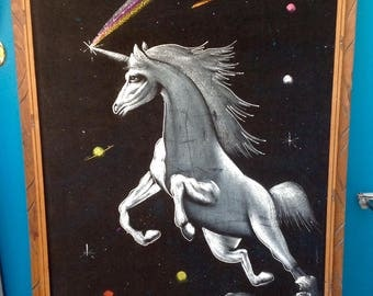 "SALE-PICK UP Only-Vintage X-Large 39"" x 27"" Unicorn Velvet Signed Painting in a Hand Carved Mexico Frame-Mystical-Magical-Bohemian-Hippie"