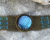 Free Form Peyote Stitch Beaded Bracelet Cuff - Listen - Beaded Labradorite Cabochon  - Bead Weaving - BOHO