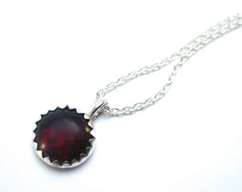 Garnet Necklace in Silver, Jewelry Gifts Under 25, January Birthstone