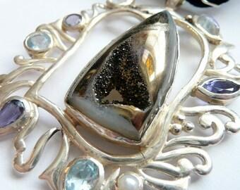 Artisan HugeTitanium Druzy Organic Sterling Silver Framed Gemstone Black Velvet  OOAK Wiccan Pagan Gothic Goth Gift for Her Pendant Necklace