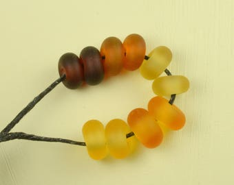 Amber and Honey Sea-Glass Little Rounds - Lampwork - CPteam - SRA