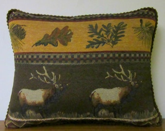 Cabin Pillow Lodge Pillow Elk Tapestry Pillow Gift for Dad Hunter Throw Pillow Decorator Woodlands