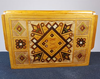 Vintage Inlaid Wood and Mother of Pearl Inlay Jewelry or Trinket Box